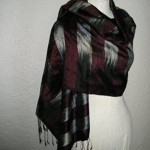 HANDWOVEN RAW SILK IKAT SHAWL WRAP